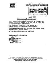 Certificated from BHEL-Perf